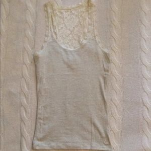 GILLY HICKS marled cream/grey tank with lace back